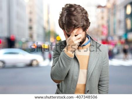 crazy man sad expression - stock photo