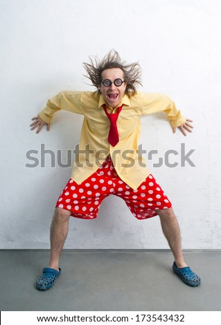 Crazy man with a bright clothes