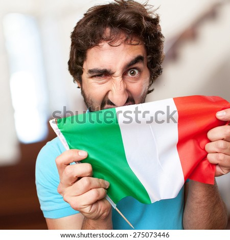 crazy man with flag - stock photo