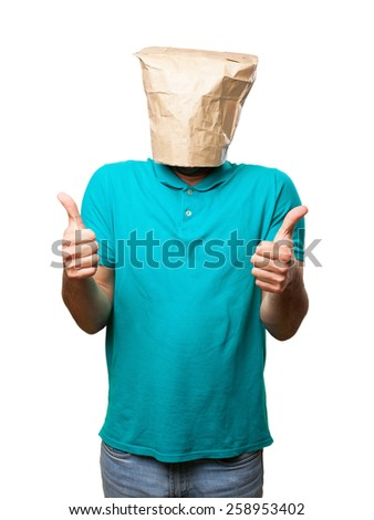 crazy man with paper bag in his head - stock photo