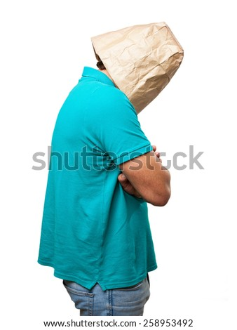 crazy man with paper bag in his head. angry or sad concept - stock photo