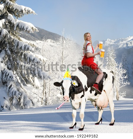 crazy oktoberfest or tiroler creation with a very beautiful woman who is sitting on a cow and serving beer and in the background snow and mountains - stock photo
