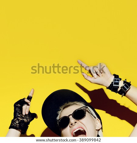Crazy Party Lady. Style Swag Glamorous Time - stock photo