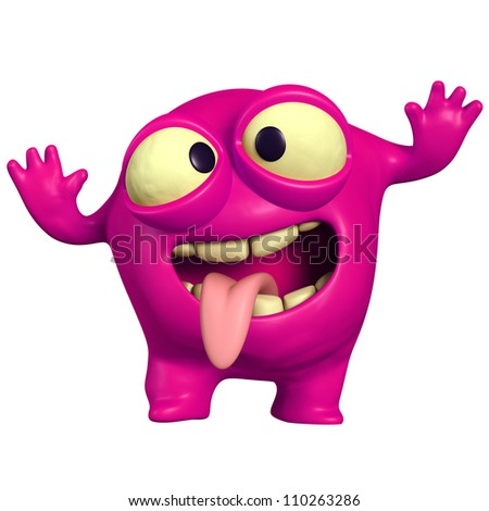 crazy pink monster - stock photo