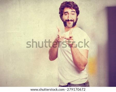 crazy proud man - stock photo