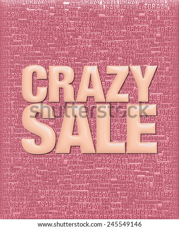 Crazy Sale text in 3D light orange metallic on same text background template. - stock photo