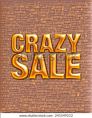 Crazy Sale text in 3D metallic mix colored on same text background template. - stock photo