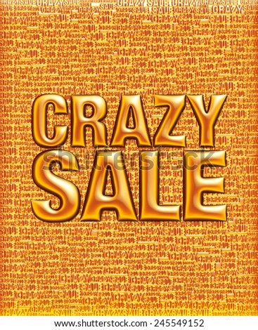 Crazy Sale text in 3D mix colored metallic on same text background template. - stock photo