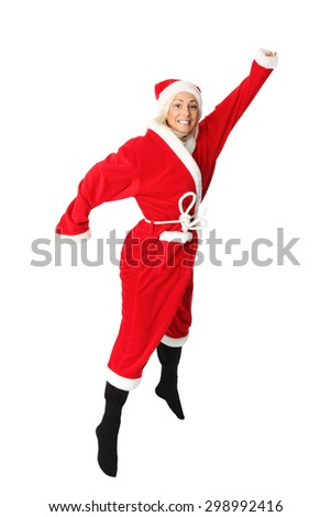 Crazy santa claus in blonde hair jumping. Wearing a red suit and hat. White background. - stock photo