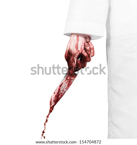 Crazy scientist with a bloody knife on the white background - stock photo