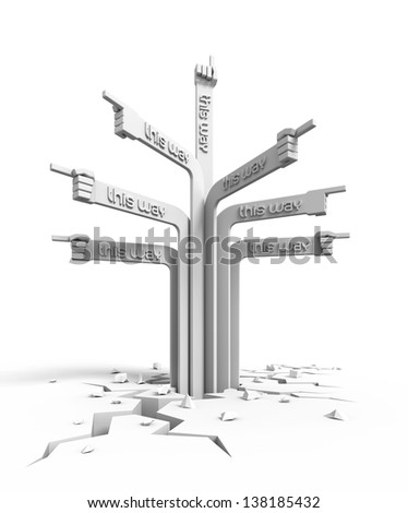 Crazy Signpost. Directional signs in forms of a hands, pointing to different ways; isolated on white background. 3D rendered image - stock photo