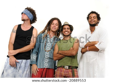 Crazy team of young multiracial friends standing isolated - stock photo