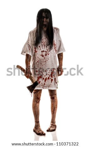 Crazy woman with an ax in his hands on a white background - stock photo