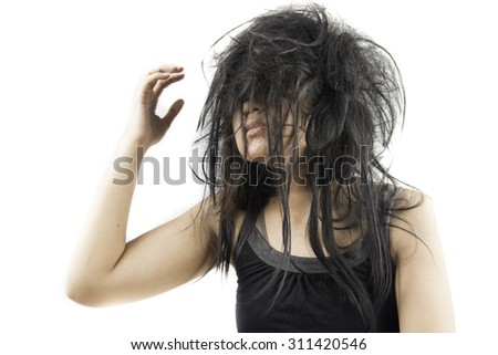 Crazy woman with stress and hair muddle - stock photo