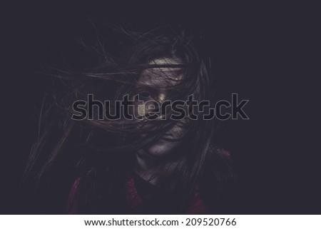 Crazy, Young girl with hair flying, concept nightmares - stock photo