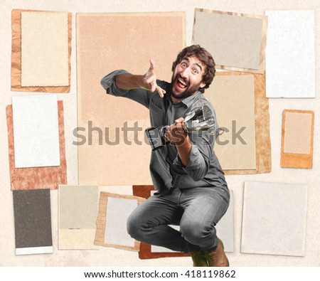 crazy young man jumping. happy expression