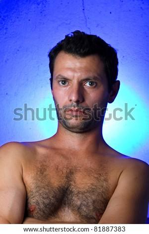crazy young man, portrait shoot, fashion shoot - stock photo