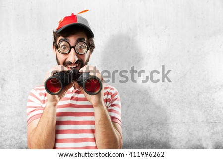 crazy young man surprised expression - stock photo