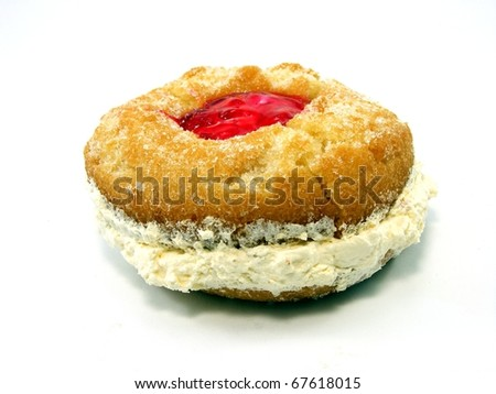 Cream and Jam Doughnut - stock photo