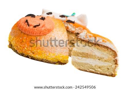Cream cake  Isolated on white background - stock photo