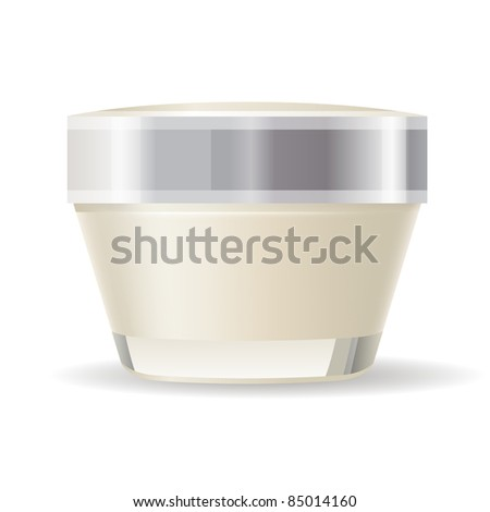 Cream container isolated on white background. Raster version.