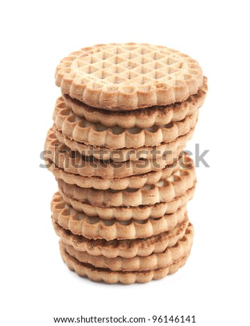 Cream cookies isolated on white background