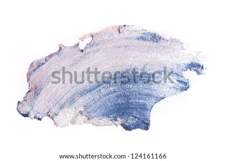 cream eyeshadow with brush isolated on white background - stock photo