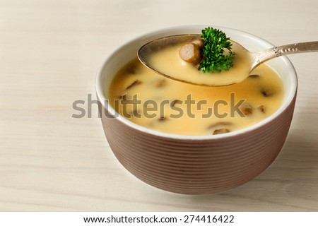 Cream of cep soup - stock photo