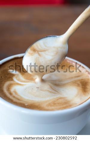 Cream of coffee - stock photo