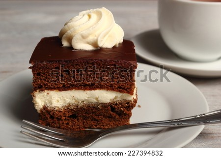 Cream Pie. Chocolate Sponge Cake filled with whipped cream.