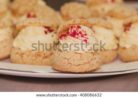 Cream puffs filled vanilla custard decorated with red crumbs. Shallow focus - stock photo