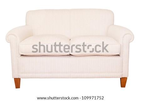 Cream sofa white background - stock photo