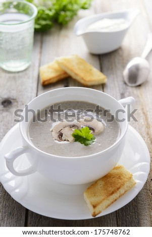 Cream soup from mushrooms