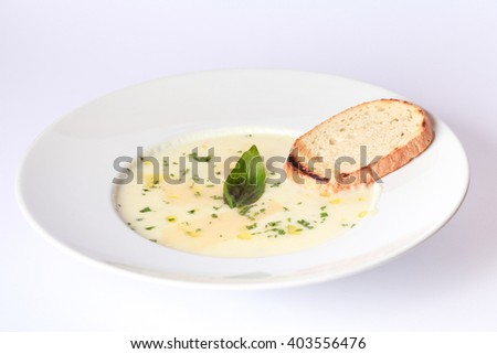 cream soup with cheese - stock photo