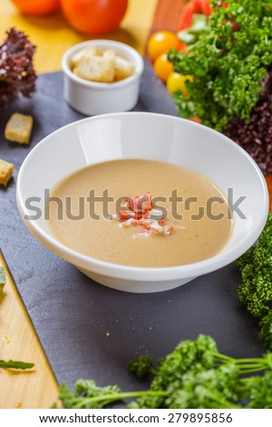 Cream soup with crab meat - stock photo