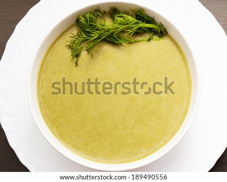 Cream Soup with Spinach - stock photo