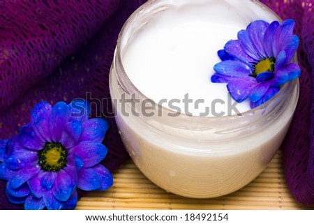 cream, towel with blue flower