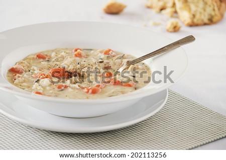 Creamy Chicken Wild Rice Soup - stock photo