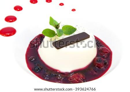 creamy chocolate desserts and ice cream on a white background - stock photo