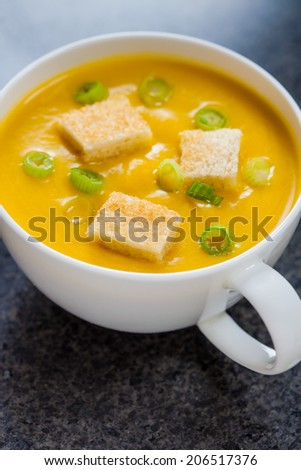 Creamy pumpkin soup with croutons and finely chopped spring onion on a marble surface - stock photo