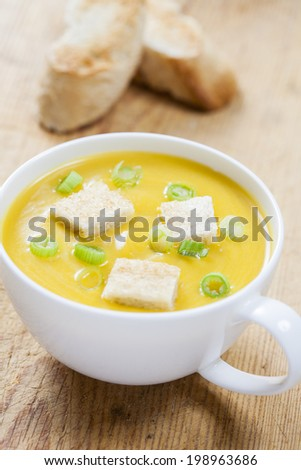 Creamy pumpkin soup with croutons, finely chopped spring onion and lightly toasted baguette slices - stock photo
