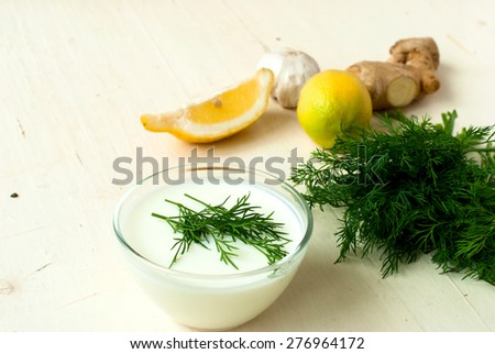 Creamy sauce with yogurt dip with dill and garlic to the vegetable and meat dishes - stock photo