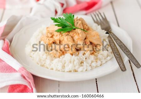 Creamy Tomato Chicken on Rice - stock photo