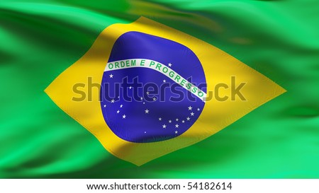 Creased Brazil cotton flag with wrinkles and seams - stock photo