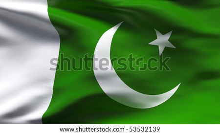 Creased Pakistan cotton  flag with wrinkles and seams - stock photo
