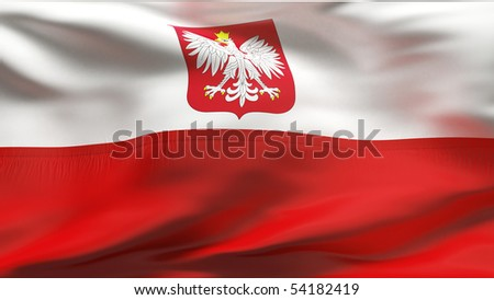 Creased Polish cotton flag with wrinkles and seams - stock photo