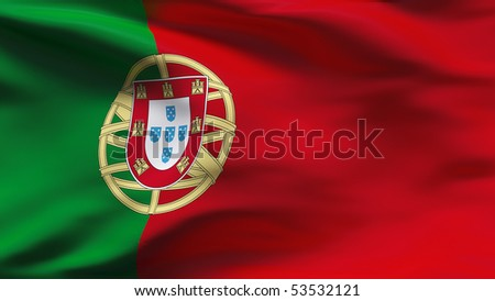 Creased Portuguese cotton  flag with wrinkles and seams - stock photo