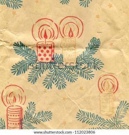 creased vintage christmas paper background texture - stock photo