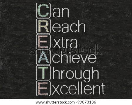 create meaning written on blackboard, background, high resolution - stock photo