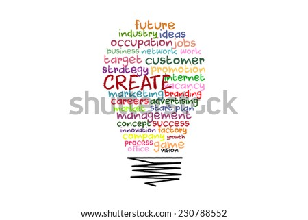 create word concept on light bulb shape with colorful words - stock photo